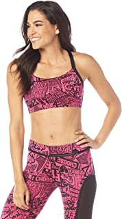 Zumba Active Workout Cross Back Sports Bra High Impact Compression Bra for Women