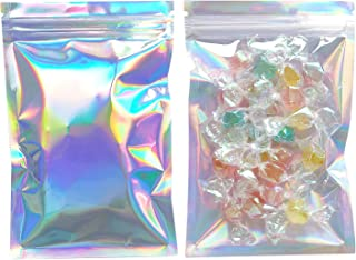 SumDirect 200pcs 4 7/10x7Inch Resealable Mylar Bags, Aluminum Foil Bags, Holographic Ziplock Pouch with Clear Front for Party Favors Candy Gifts Food Storage (4.7x8 Inch)