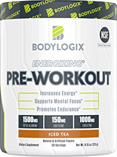 Bodylogix Energizing Pre-Workout Powder, NSF Certified, Iced Tea, 30 Servings