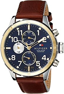 Tommy Hilfiger Mens Quartz Watch, Analog Display and Leather Strap 1791137