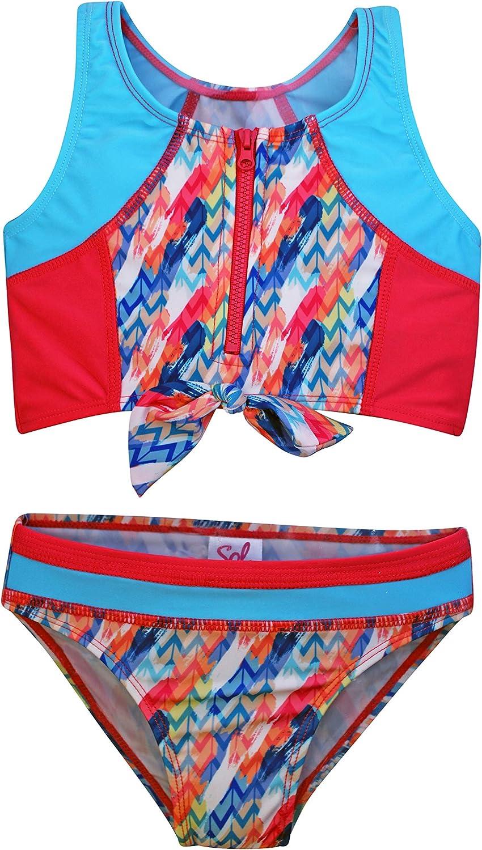 Little Girls Swimsuits Sol Swim Aztec Feathers Girls Two Piece Swimsuit