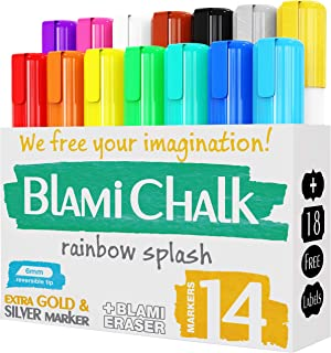 Blami Arts Chalk Markers and Chalkboard Labels Pack -14 Erasable Liquid Ink Pens –..