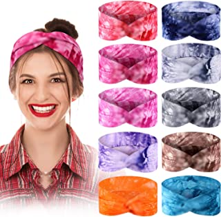 10 Pieces Tie Dye Headbands Boho Knotted Hairband Turban Elastic Cotton Stretch Head Bands Criss Cross Twisted Head Wrap H...