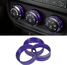 Sporthfish 3Pcs Aluminum Alloy Interior Audio Air Condition Twist Switch Ring Control Button Trim Cover for Jeep Wrangler JK JKU Patriot 2011-2018 dodge ram challenger 2008-2014 (Purple)