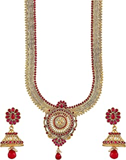 Crunchy Fashion Royal Bling Bollywood Style Traditional Indian Jewelry Gold Tone Temple Necklace with Jhumka Earrings for Women