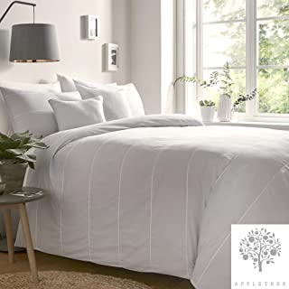 Appletree Salcombe-Embroidered Duvet Cover Set, 100% Cotton, Silver, King