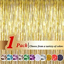 Ariceleo Tinsel Gold Foil Curtains (3ft X 8ft) Metallic Fringe Curtains Shimmer Photo Booth Backdrop Curtain for Birthday Wedding Party Christmas Decorations (Gold,1 Pack)