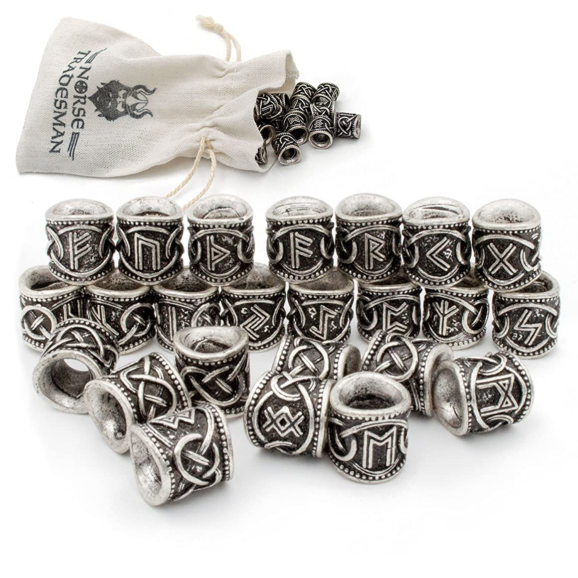 Viking Rune Beard Bead Set (24) - Norse Rings for Hair, Dreads & Beards
