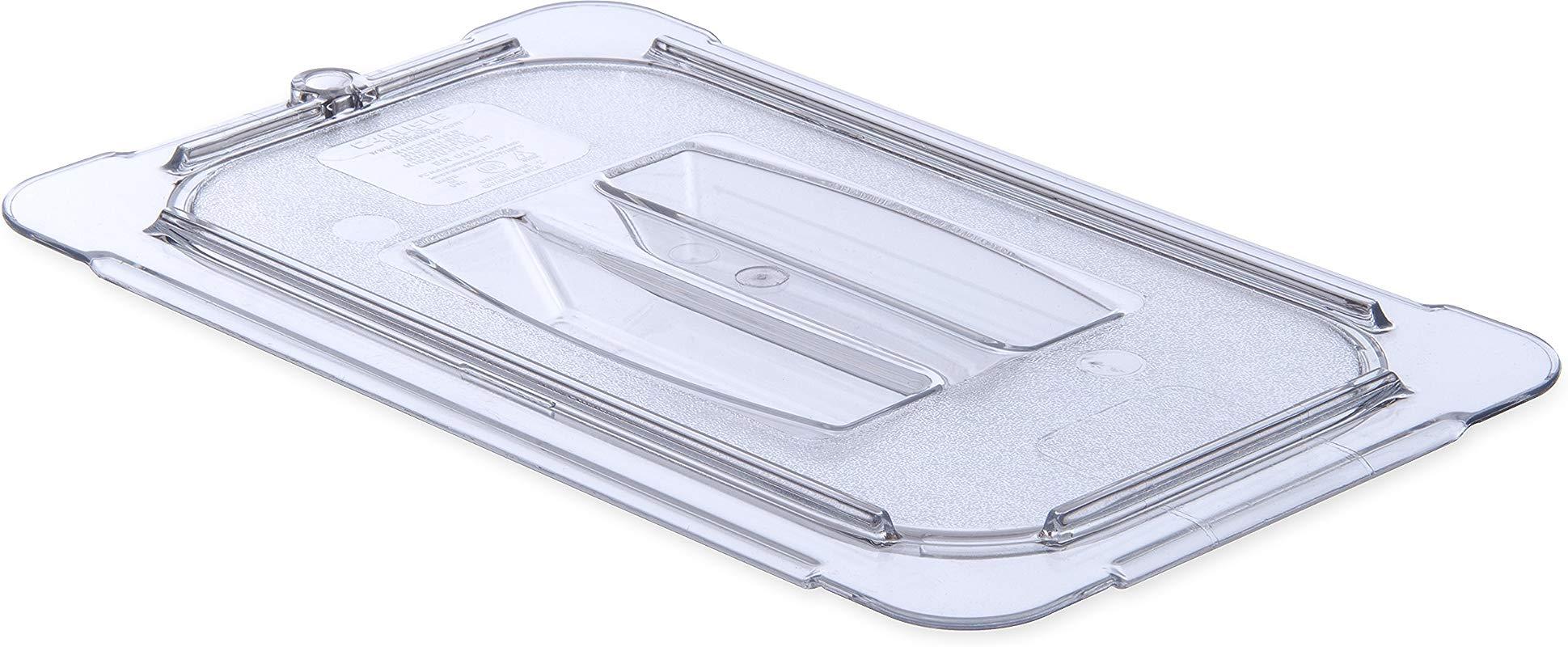 Carlisle 10290U07 StorPlus Quarter Size Polycarbonate Universal Handled Food Pan Lid Clear