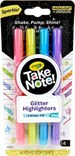 CRAYOLA Glitter Highlighter Take Note! Glitter Highlighter Markers, 4 Sparkly Colours, Chisel Tips, Thick or Thin Lines, P...