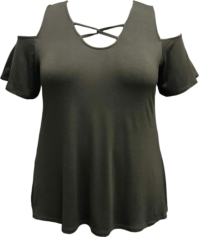 LEEBE Women's Plus Size Lace Dedication 1X-5X Top Up Cold-Shoulder Max 41% OFF