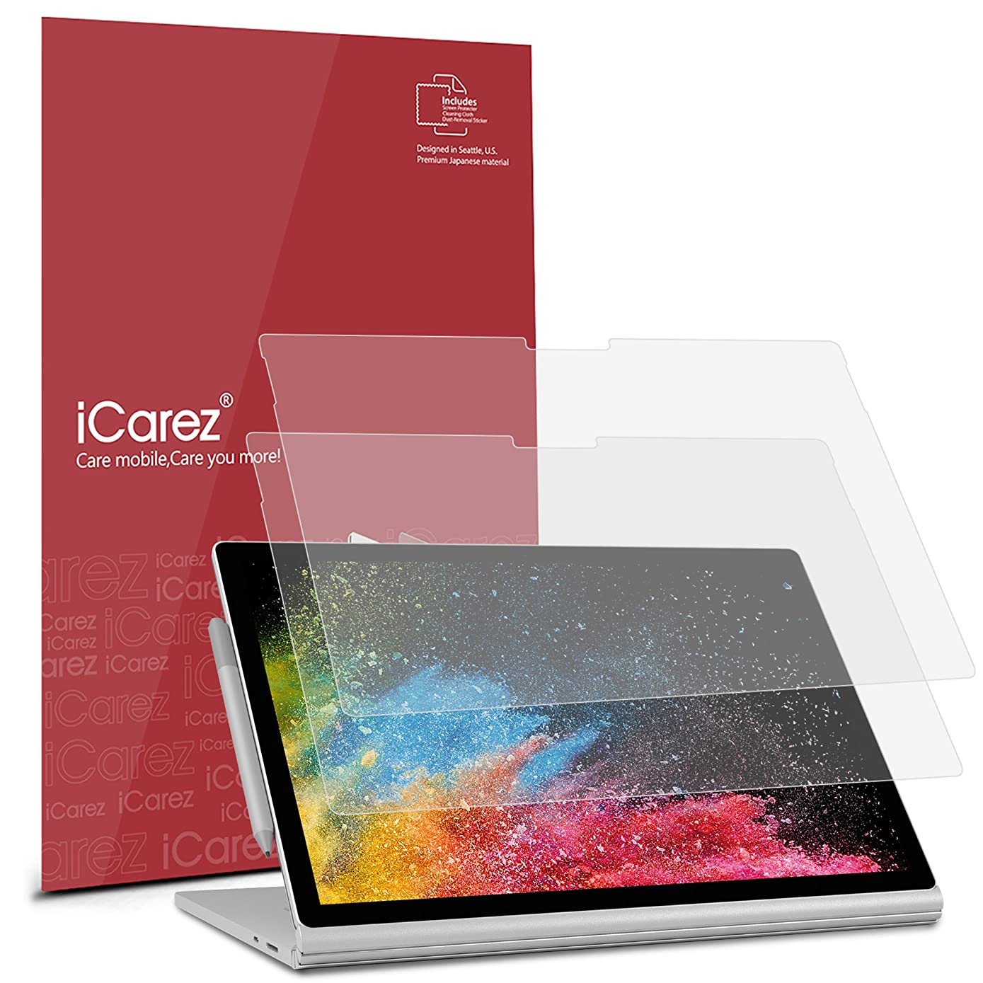 iCarez [Anti-Glare] Matte Screen Protector for Microsoft Surface Book 2 (2017) 13.5-Inch Easy Install with Lifetime Replacement Warranty