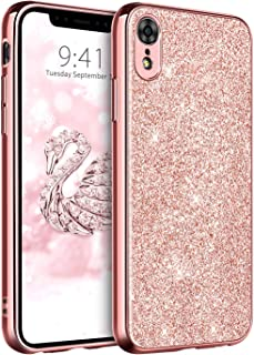 DUEDUE iPhone XR Case Bling, Slim Hybrid Hard PC Cover Shockproof Non-Slip,Glitter Full Body Protective Phone Cover Case for iPhone XR 6.1 inch for Women/Girls,Rose Gold