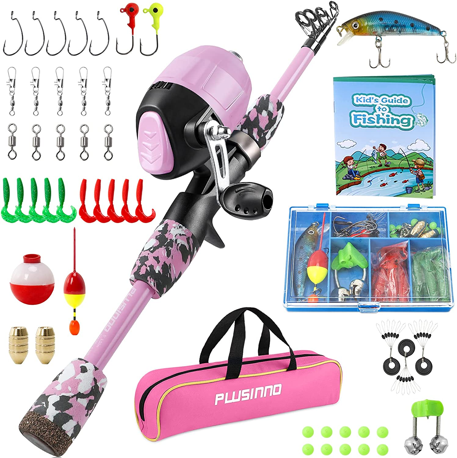 PLUSINNO Kids Fishing Arlington Mall Pole with Reel Selling and selling Spincast Telescopic
