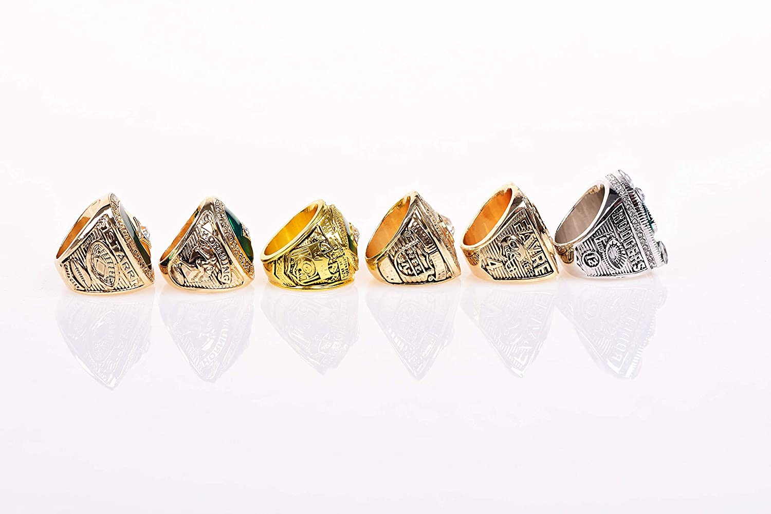 Set of 6 Packers Championship Ring by Display Box Set