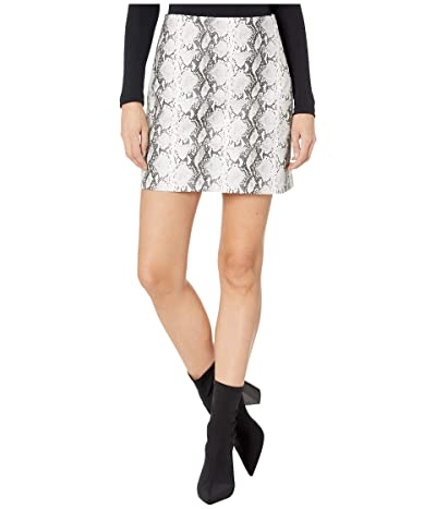 Cupcakes and Cashmere Ramona High-Waist Snake Faux Leather Skirt (White) Women