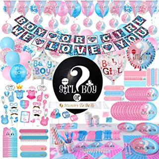 Gender Reveal Party Supplies & Tableware Set - (563 Pieces) Complete Gender Reveal Decoration For 24 Guest Tableware , 36 Inch Reveal Balloon, Banner, Triangle Flag Banner, Balloons, Team Stickers, Tablecloth, Cake Topper, Candy Stickers, Hanging Spiral Decorations, Photo Props, Mummy To Be Sash, Invitation Card Much More