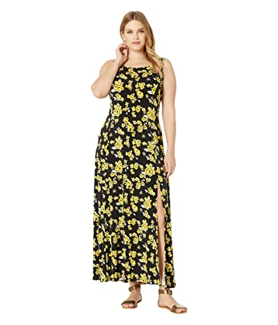 MICHAEL Michael Kors Plus Size Glam Painterly Maxi Tank Dress (Black/Golden Yellow) Women