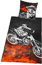 Herding Young Collection Bedding Set, Reversible Motif Motocross, Duvet Cover 135 x 200 cm, Pillow Case 80 x 80 cm, Polyester