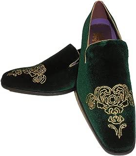 AM 6823 Mens Green Gold Embellished Fancy Velvet Dress Loafers Shoes