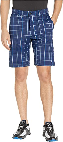 Flat Front Fashion Plaid Shorts