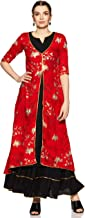 Libas Women's Rayon a line Salwar Suit Set (5800_ Red_ Large)