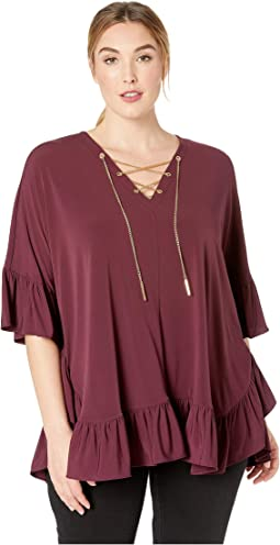 Plus Size Chain Lace Caftan Top