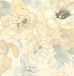 Rainforest Floral Shimmer Gold Wallpaper Green Cream Modern Vintage Samples Available