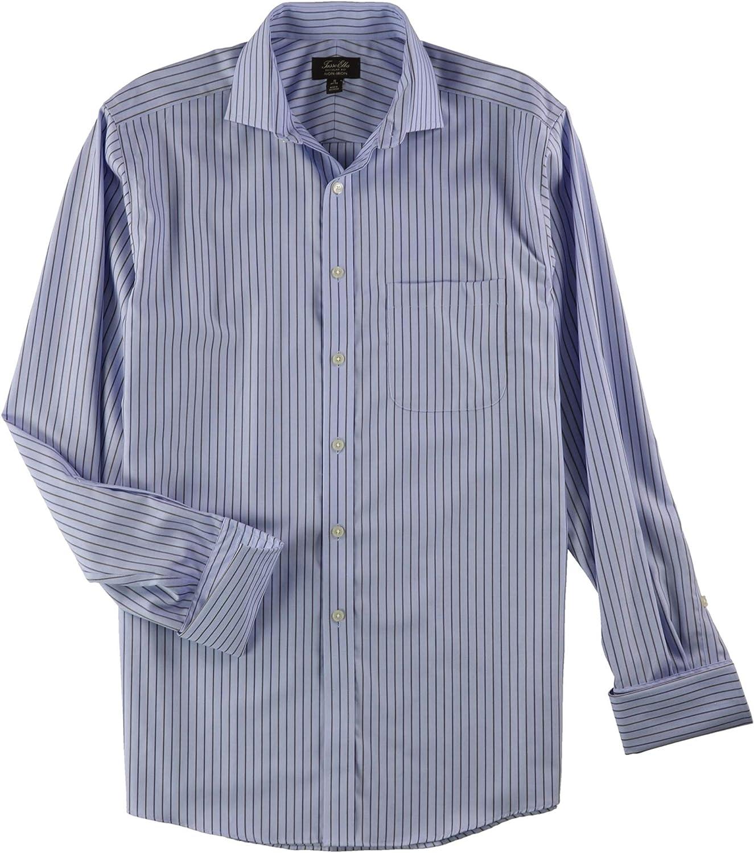 Tasso Elba Mens Stripe Button Up Dress Shirt, Blue, 16