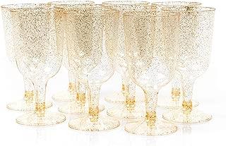 Matana 50 Copas de Vino de Plástico Desechables, 6 oz (170 ml) - Brillo Dorado - Ideal para Bodas, Clubes nocturnos, Ocasiones Festivas y más.