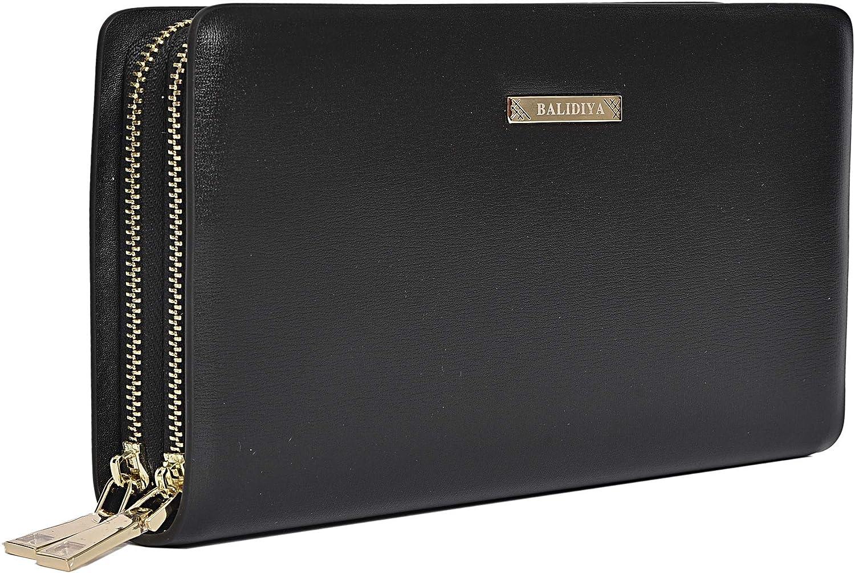 BALIDIYA Men Genuine Leather Clutch Bag Purse Wallet Organizer Purse Insert…