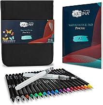 Artina Pincelli zestaw pisaków akwarelowych w 20 kolorach z 2 pędzelkami do akwareli A5 w woreczku na pędzle do kaligrafii...