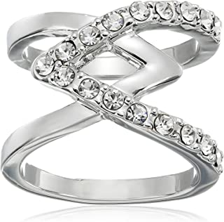 GUESS Basic Criss Cross with Stones Ring, Size 7
