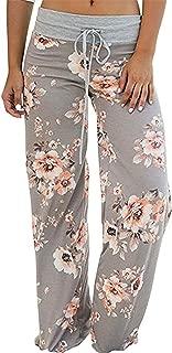 Women's Comfy Stretch Floral Print Drawstring Long Wide Leg Lounge Pants