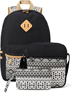 Plambag Canvas Backpack Set 3 Pcs, Casual Lightweight School Backpack for Women Teen Girls Black