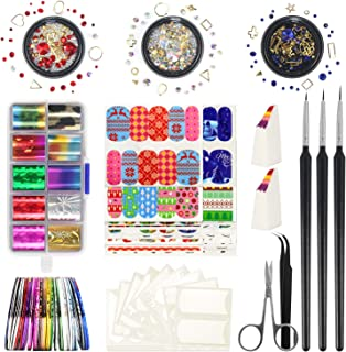 Nail Art Kit – Fascinating Nail Arts Include 10 Starry Foil Stickers, 3 Nail Liner,..
