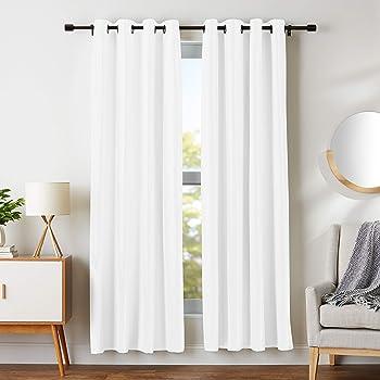 "AmazonBasics Room Darkening Blackout Window Curtains with Grommets - 52"" x 84"", White, 2 Panels"