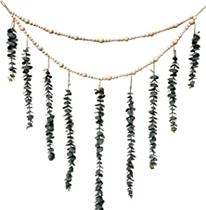 ConspiringUniverse Artificial Hanging Eucalyptus Wall Decor Large 36 Inches x 36 Inches with Decorative Wooden Bead Garland