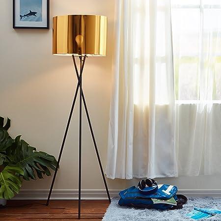 Lampadaire Cara Trépied Lampe De Sol Sur Pied Abat-jour Doré VN-L00001-EU