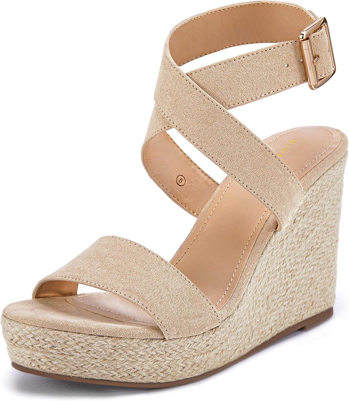 Coutgo Womens Wedge Espadrille Sandals Open Toe Ankle Cross Buckle Strap Platform Heel Slingback Summer Shoes