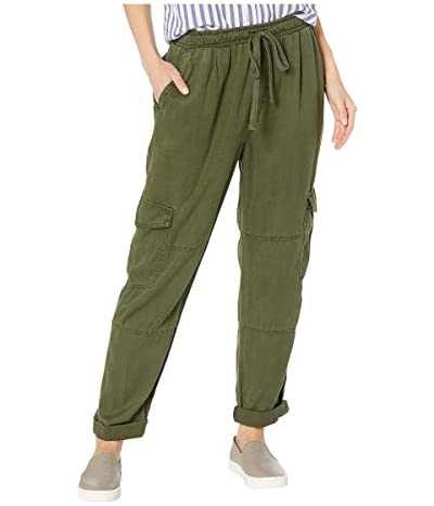 bella dahl High-Waisted Cargo Pants in Crosshatch Tencera (Woodland Olive) Women