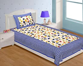 UNIBLISS Cotton Rajasthani Jaipuri Traditional Single Bed Sheet with One Pillow Cover - Blue