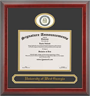 Signature Announcements University of West Georgia (UWG) Undergraduate and Graduate Graduation Diploma Frame with Sculpted Foil Seal & Name (Cherry, 20 x 20)