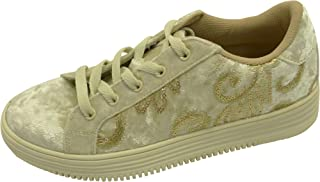 Cambridge Select Women's Low Top Round Toe Velvet Embroidered Sequin Lace-Up Fashion Sneaker
