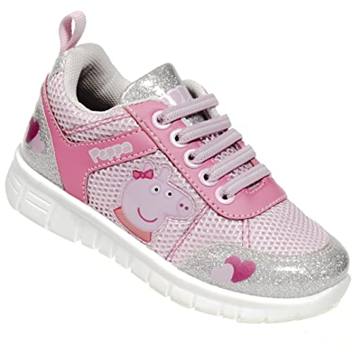 d5ae738867458 Peppa Pig Kids Toddler Girls Silver and Pink Running Glitter Sneakers  Rubber Shoes with Elastic Laces