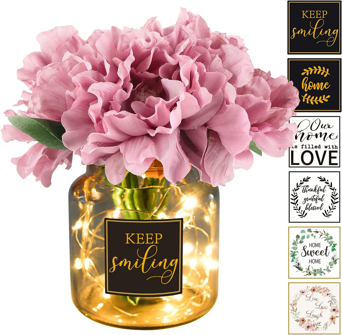 Peony Artificial Flowers with Vase and Led Lights-Flower Floral Centerpieces for Tables Dining Room,Fake Faux Flowers in Vase,Coffee Table Vanity Decor for Living Room,Desk Decor for Women,Light Lilac