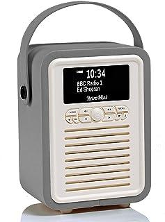 VQ Retro Mini DAB+ Digital Radio with FM, Bluetooth & Alarm Clock, Dark Grey, (VQ-Mini-DG/AUS)