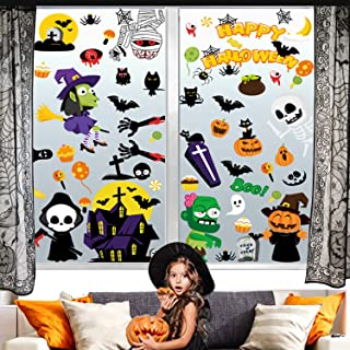 COCOBECO Decoración Halloween Pegatinas Calcomanías para Ventana Adornos Día de Muertos Calabaza Bruja Fantasma Calaverita...