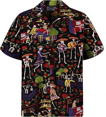 Camisa hawaiana para hombre casual con botones de manga corta unisex Día de los Muertos Halloween cráneos de azúcar esqueletos