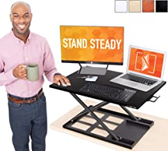 Stand Steady X-Elite Pro Standing Desk Converter | Instantly Convert Any Desk into a Sit to Stand Up Desk | Easy Lift Height Adjustable Standing Desk | No Assembly Required! (28  x 20  / Black)